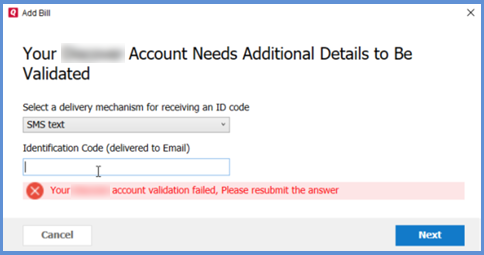 "Online Bill Center Error: ""Account Validation Failed"""