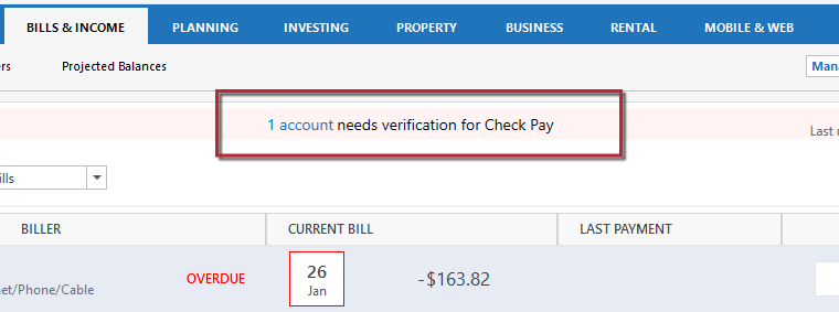 Quicken Bill Manager: How To Set Up Quick Pay and Check Pay