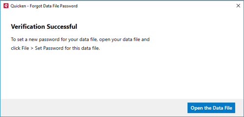 What if I forgot the Data File Password or Quicken isn't accepting it?