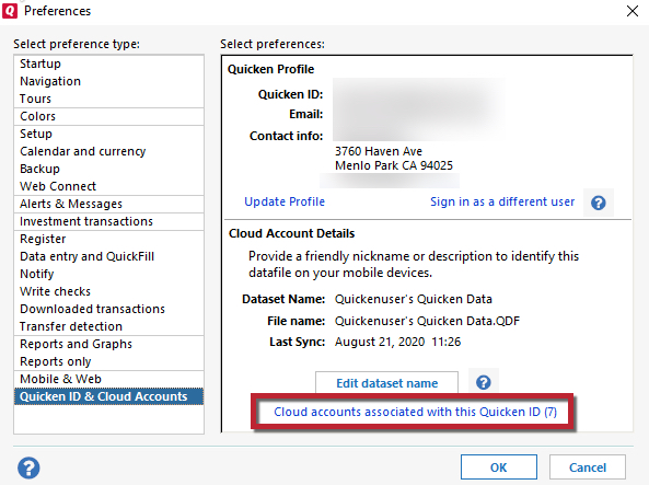 How to edit or delete your Cloud datasets in Quicken for Windows