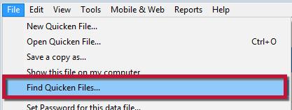 How to find a Quicken data file (Quicken for Windows)