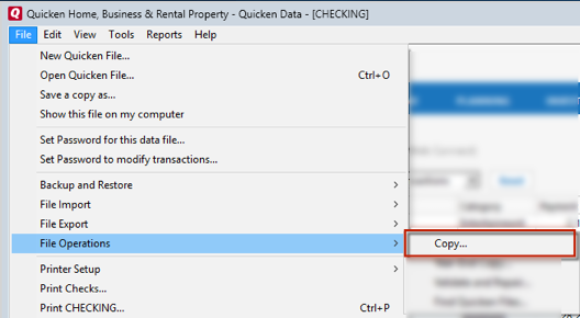 How Do I Copy a Quicken Data File?