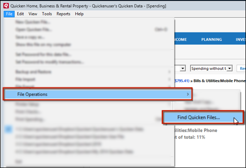 How to find a Quicken data file (Quicken for Windows)