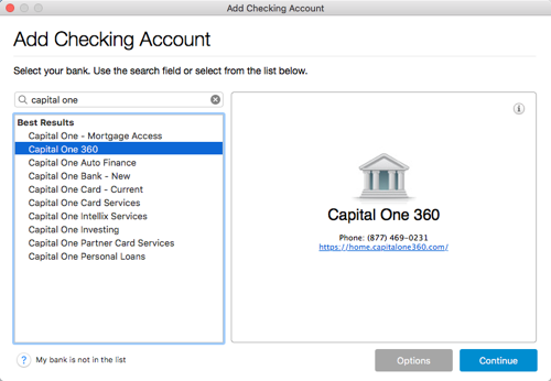 Adding Capital One Accounts in Quicken for Mac