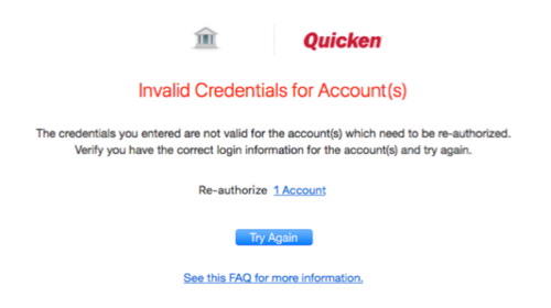 Capital One Accounts in Quicken for Mac: 351 Error