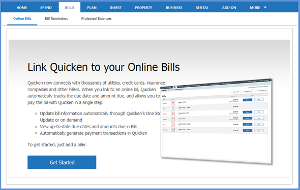 Quicken Online Bill Center Errors
