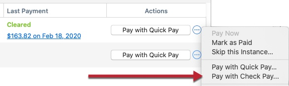 Quicken Bill Manager: How To Make Payments Using Quick Pay and Check Pay
