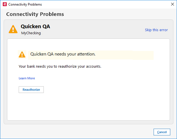 Quicken Error