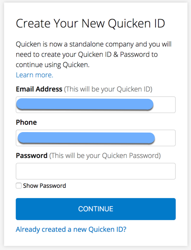 Why do I get an error that my account needs to be migrated or that my Quicken ID already exists when I try to create my Quicken ID?