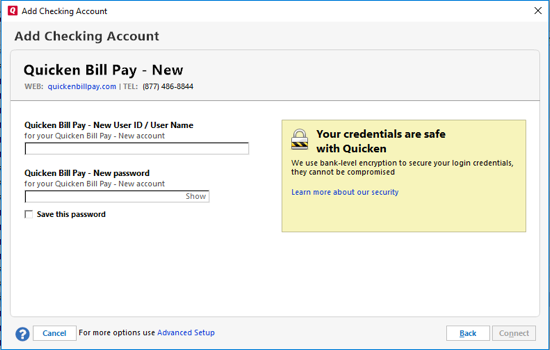 How to add a new Quicken Bill Pay account to Quicken