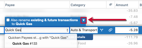 Renaming Rules for Past and Future Transactions in Quicken for Mac