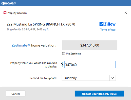 Automatically track your home value with Zillow (Windows only)