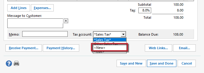 Working With The Sales Tax Account