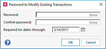 Adding and Removing Data File and Transaction Passwords in Quicken for Windows