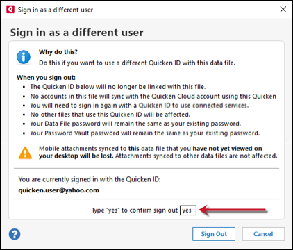 I'm unable to change the Quicken ID when signing in