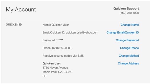 How to update your Quicken ID profile information (email address, phone number, or password)