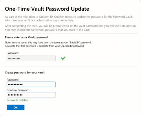 After creating a Quicken ID, I can't get past the Update Password Vault screen