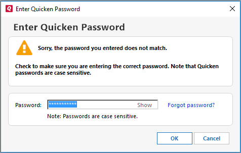 I'm having password problems in Quicken for Windows