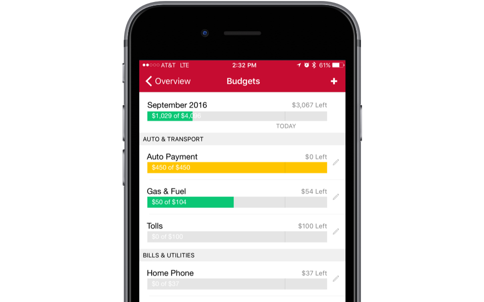 monthly budgeting app