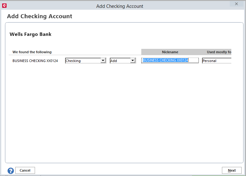 Add Checking Account
