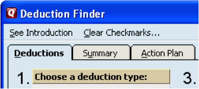 Deduction finder action plan
