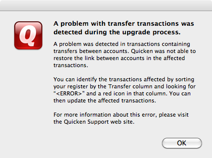 A problem with transfer transactions was detected during the upgrade process