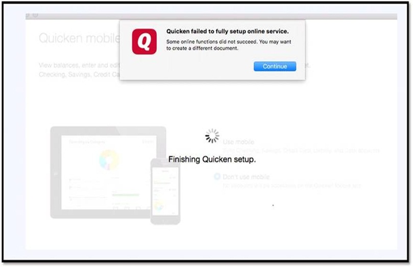 Error When Setting up Quicken: Quicken failed to fully setup online service