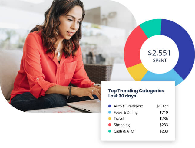 woman managing her money with charts and tables