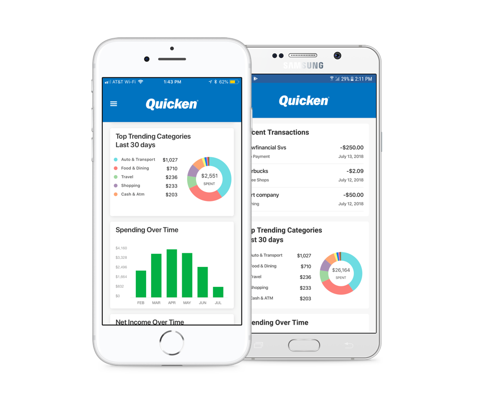 Quicken mobile app on iOS and Android phones