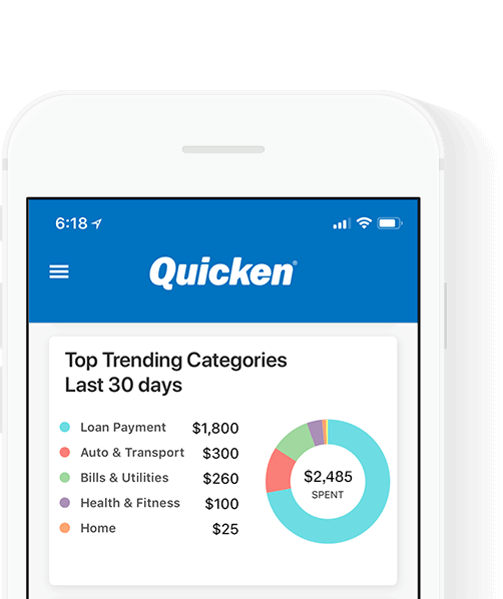 Quicken mobile app on iPhone
