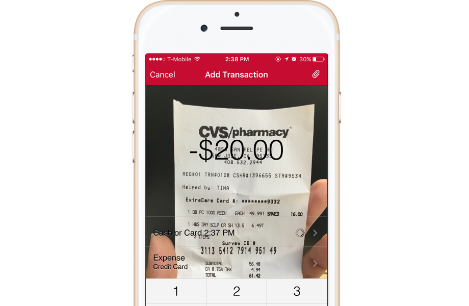 Quicken online mobile app IOS Android receipt tracking taxes