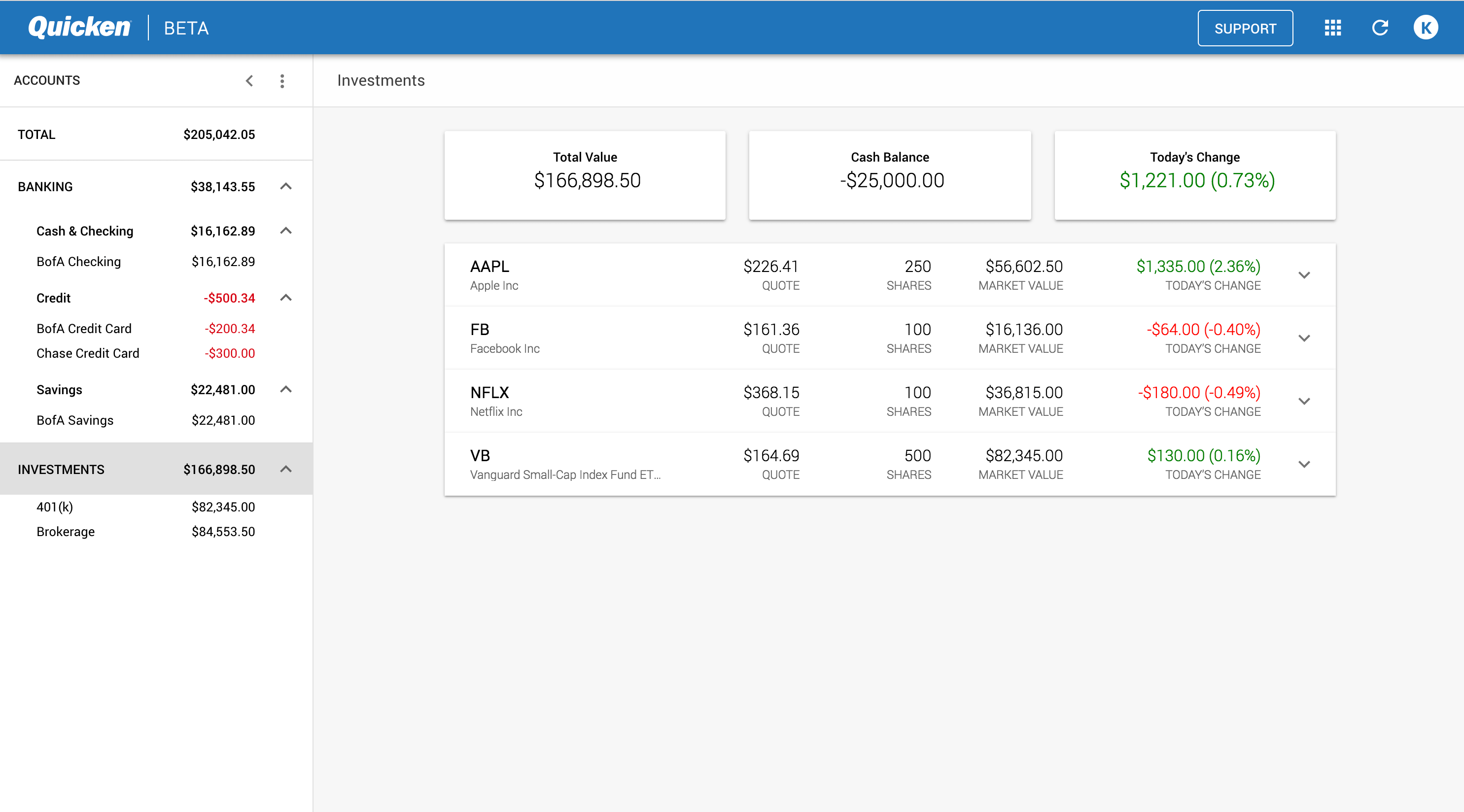 Quicken screenshot of investments